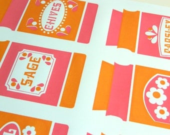 Hand Pulled A3 2 Colour Screen Print - Herbs Orange/Pink FREE WORLDWIDE SHIPPING