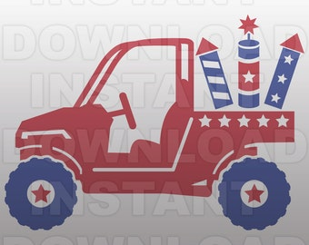 July 4th ATV SVG File,Quad svg File -Commercial & Personal Use- Vector Art SVG for Cricut,Silhouette Cameo,iron on vinyl design
