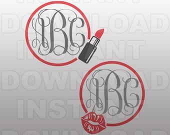Makeup Monogram Frame SVG File - Lips SVG File - Commercial & Personal Use- vector svg file for Cricut,svg file for Silhouette,vinyl cutting