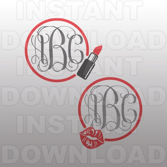 makeup monogram frame svg file lips svg file commercial