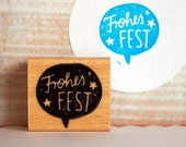 Frohes Fest - rubberstamp - 35x30 mm (1,4x1,2 inches) // merry christmas / happy holidays / design stamp / handlettering / typo