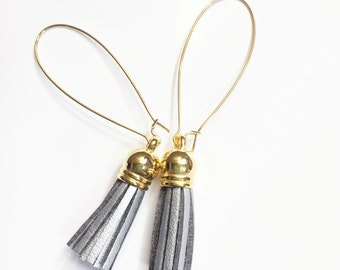 Leather tassel earring with large kidney earwire, gold plated stainless steel kindey earring, Silver  fringe earring