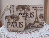 Paris French Country Lined Smart phone Case Gadget Pouch Clutch Wristlet Zipper Gadget Pouch Bag  Made in USA Set