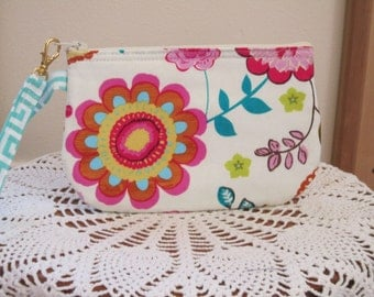 Clutch Wristlet Zipper Gadget Pouch Smart Phone Bag Colorful Flowers