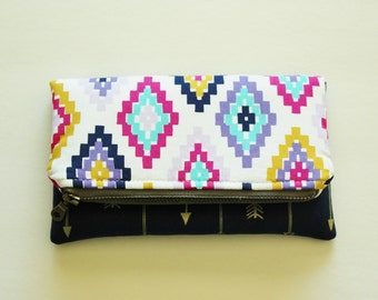 Mini fold over clutch, zippered pouch, aztec and arrows