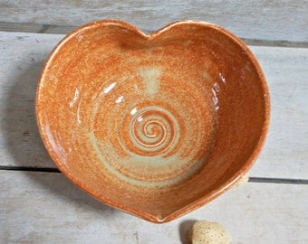 Small Heart Bowl in Orange, Little Love Bowl, Handmade Stoneware, AntB, Altar Bowl, Change Dish, Ring HolderReady to Ship