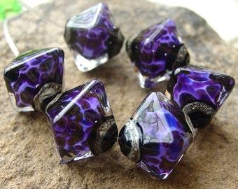 Timeless Purple - Set of 6 Crystal Bicone Beads - SRA Glass Lampwork
