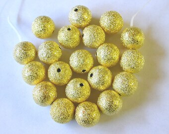 Gold Stardust Beads, 12mm Gold Stardust Beads (20)