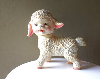 Large Rolling Sun Rubber Lamb Lambkin, On Rollers