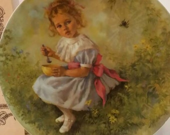 Vintage 1981 Little Miss Muffet Collectible Plate by John McClelland 3rd in Mother Goose Nursery Rhymes Series