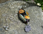 Earthen Sun lampwork pendant necklace - Lisa New Design Artisan jewelry-Healing hand Amulet necklace