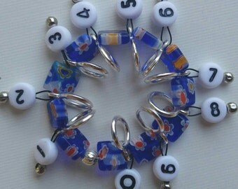 SnagFree Circular Row Counter Ring Style with Blue Millifiori Beads