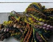 Handspun Art Yarn - Hand Dyed Superwash Merino Wool Yarn - Thick and Thin Yarn - Boggy