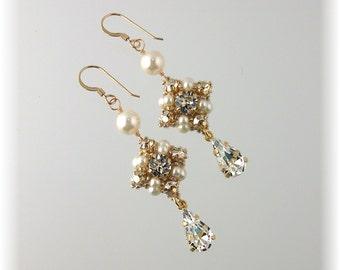 Wedding Rhinestone Earrings, Wedding Jewelry, Golden Chandelier Earrings