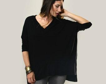 Bohemian Oversized V Neck Shirt • Women's Loose Tunic • V Neck Blouse • Seamed Front Boho Tops • Loft415 Minimalist Clothing (No. 749)