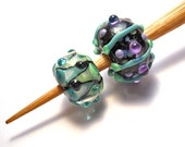 Purple, green & aqua Handmade glass whorl, oak wool spindle, spinning tool, whorls or spindle set, Medieval spinning, light weight spinning