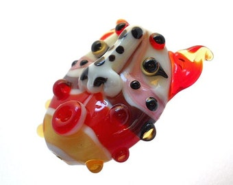 Red mask glass bead pendant amulet, Lampwork necklace, handmade face bead lamp work pendant, face totem, focal bead, glassbead