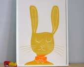 Bunny Rabbit screenprint on paper