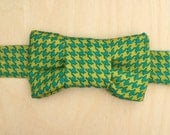 Teal Houndstooth Bow Tie for Cats