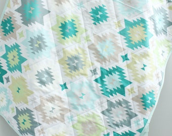 baby quilt mint aztec southwest bohemian by PETUNIAS blanket crib nursery decor shower gift newborn prop hipster modern chevron gray