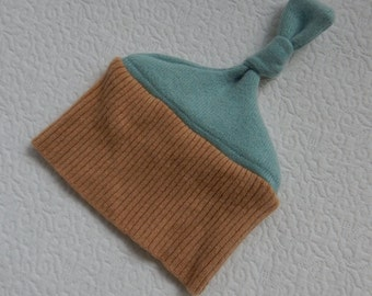 Recycled Light Brown and Light Teal Cashmere Baby Hat - 0-3 months