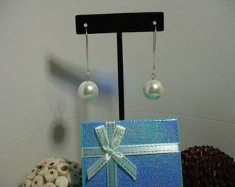 Sterling Silver & 14mm Pearl Earrings