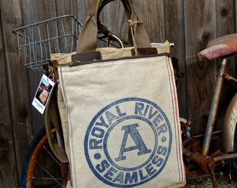 Royal River Seamless A - Illinois - Americana Vintage Seed Feed Sack Book Tote W- OOAK Canvas & Leather Tote .. Selina Vaughan