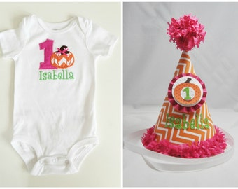Little Pumpkin 1st Birthday Shirt Bodysuit & Party Hat Set- Personalized Baby Girl