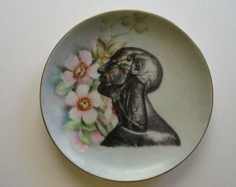 Victorian Adult Neck Interior Illustration on Vintage Plate-Artist Altered Plate