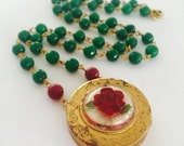 Vintage necklace, statement necklace, Rose, Compact, Vintage Vanity