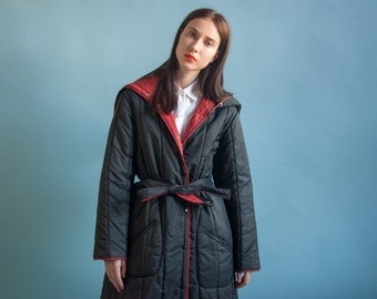 70s reversible quilted coat / belted hooded coat / black winter coat / s / m / 2038o / R3
