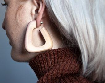 valletta wooden sculptural earrings / oversized earrings / minimalist earrings / 827a