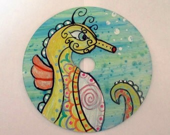 Recycled CD art - Sea Horse (Made to Order)- painting, acrylic