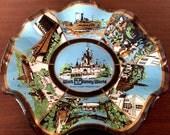 Walt Disney World Vintage Glass Ashtray - 1970s 70s Retro The Magic Kingdom Vacation It's A Small World Smokers Tray