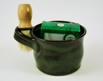 Shave Mug Gift Set for Him Wheel Thrown Stoneware Pottery Rustic Green