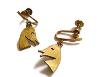 SUMMER SALE Peggy Miller Modernist Horse Head Earrings