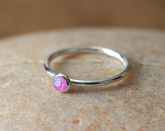 Pink Opal Stacking Ring Sterling Silver Ring or Purple, Peach, Light Blue Opal, Size 2 to 15, October Birthstone, Womens Ring, Bridesmaid