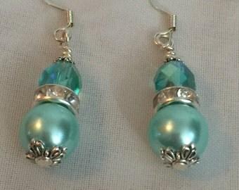 Wedding Bridesmaids Gift Bridal Jewelry Bridal Earrings limpet shell Aqua Blue Pearl Czech Glass Drop Dangle Earrings