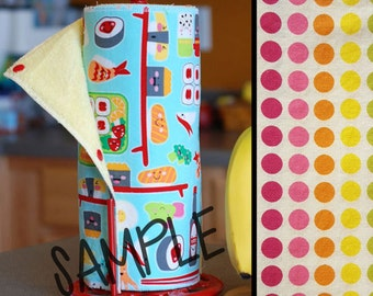 Tree Saver Towels - Rainbow Dots - Reusable, Eco-Friendly, Snapping Paper Towel Set - Cotton and Terry Cloth