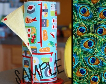 Tree Saver Towels - Peacock Feathers - Reusable, Eco-Friendly, Snapping Paper Towel Set - Cotton and Terry Cloth