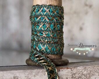 Renaissance Tinsel Metallic Dressmaking Trim Forest Green