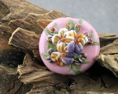 Lampwork Glass Pansy Floral Focal Pink Purple Yellow