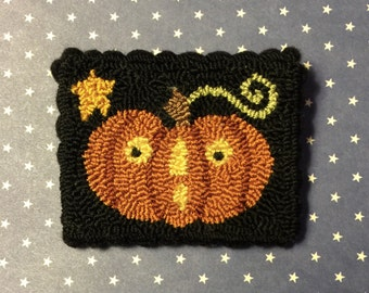 Primitive Needle Punch Pin Fall Pumpkin And Star