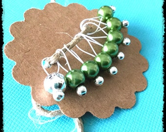Snag Free Stitch Markers Small Set of 8 - Green Glass Pearls -- K1 -- Up to size US 8 (5.0mm) Knitting Needles