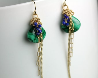 Malachite and Lapis Earrings Draped in Gold Fill Chains