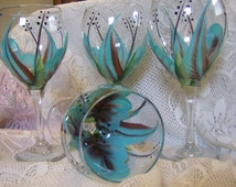 Wine glasses/goblet Turquoise and brown Hand painted