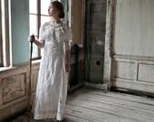 Linen and Irish Lace Edwardian Dress Size XS XXS
