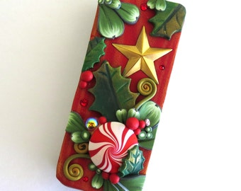 Peppermint Candy Slide Top Tin, Christmas Star Sewing Needle Case , Polymer Clay Covered Tin, Magnetic Needle Case