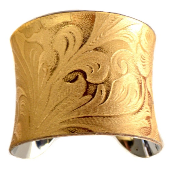 Metallic Gold Embossed Floral Cuff Bracelet - by UNEARTHED