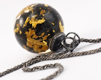 Carborundum and 24K Gold Flakes Resin Pendant, Oxidised Sterling Silver Necklace with Zirconias, Resin Jewellery